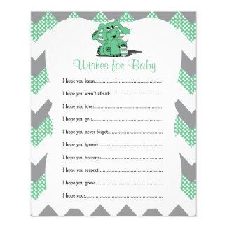 Grüne Zickzack Elefant-Baby-Dusche - Wünsche Flyer