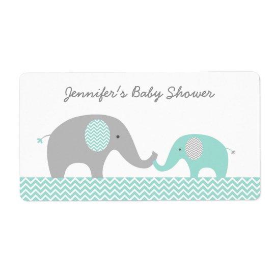 Grüne Zickzack Elefant-Baby-Duschen-Bevorzugung Großer Adressaufkleber