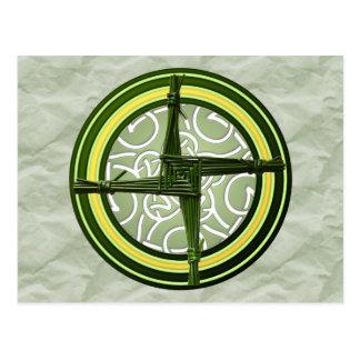 Grünen Brigids Kreuz auf Grün Postkarte