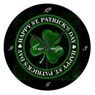 grünen/schwarzen Kleeblatt-St Patrick Große Wanduhr