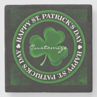grünen/schwarzen Kleeblatt-St Patrick Steinuntersetzer