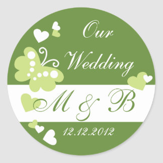Grünen Sie unseren Hochzeits-Monogramm-Aufkleber Runder Aufkleber