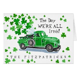 Grünen Vintager LKW-St Patrick Tag Karte