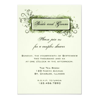 Grüner abstrakter Blumenpaar-Polterabend 12,7 X 17,8 Cm Einladungskarte