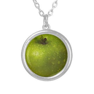 Grüner Apfel Versilberte Kette