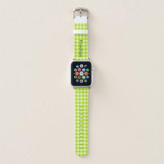 Grüner Apple-Gingham addieren Ihren Namen Apple Watch Armband