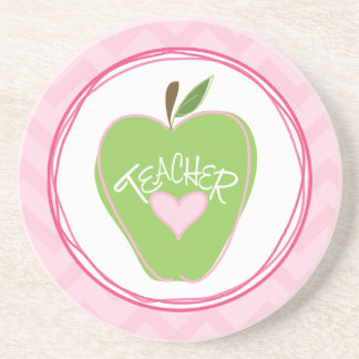 Grüner Apple u. rosa Zickzack-Lehrer-Untersetzer Bierdeckel