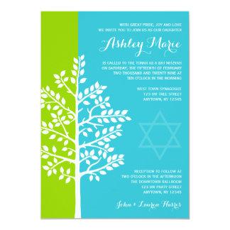 Grüner aquamariner blauer Baum des Leben-Schlägers 12,7 X 17,8 Cm Einladungskarte