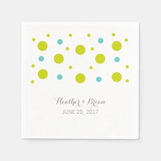 Grüner aquamariner Confetti-Wedding Serviette