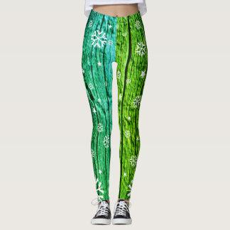 Grüner aquamariner Woodgrain u. weiße Leggings