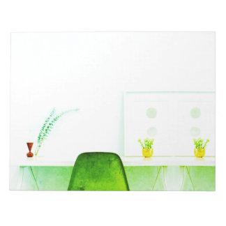 Grüner Aquarell-Künstler-Stuhl vom Schreibtisch Notizblock