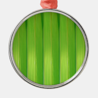 Grüner Bambus Rundes Silberfarbenes Ornament