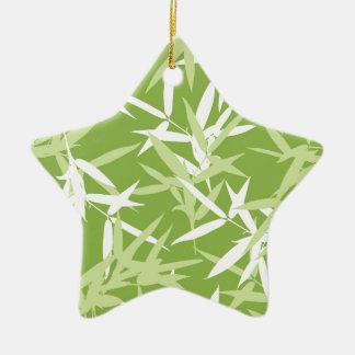Grüner Bambus verlässt einzigartiges Muster Keramik Ornament