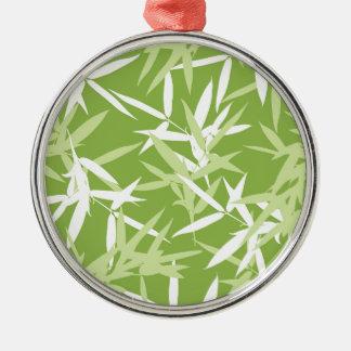 Grüner Bambus verlässt einzigartiges Muster Silbernes Ornament