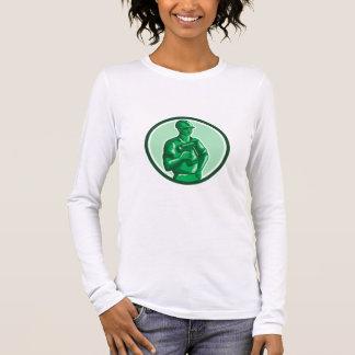 Grüner Bauarbeiter Nailgun Kreis Retro Langarm T-Shirt