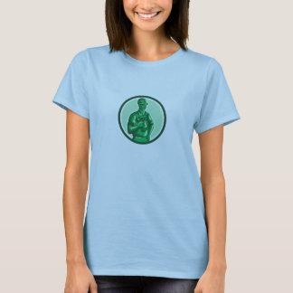 Grüner Bauarbeiter Nailgun Kreis Retro T-Shirt