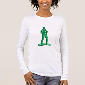 Grüner Bauarbeiter Nailgun Retro Langarm T-Shirt