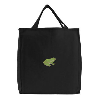 Grüner Baum-Frosch Bestickte Tragetasche