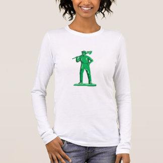 Grüner Bergmann, der Schaufel Retro hält Langarm T-Shirt