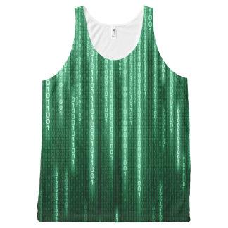 Grüner binärer Regen ganz über Druck-Trägershirt Komplett Bedrucktes Tanktop