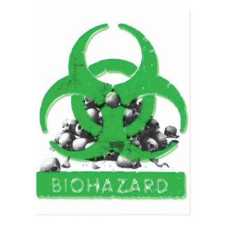 Grüner Biogefahren-und Schädel-Stapel Postkarte
