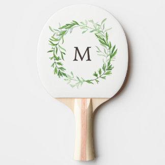 Grüner botanischer BlätterWreath mit Monogramm Tischtennis Schläger