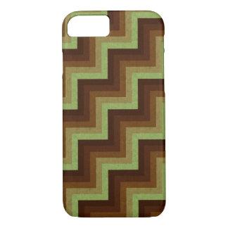 Grüner Brown-Zickzack-geometrisches Muster iPhone iPhone 8/7 Hülle