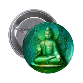 Grüner Buddha Runder Button 5,1 Cm