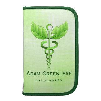 Grüner Caduceus-Alternativmedizin-Folio-Planer