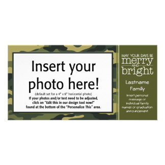 Grüner Camouflage-Feiertags-Gruß Bildkarte