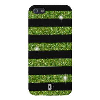 Grüner Confetti-Glitter u. Monogramm der iPhone 5 Schutzhülle