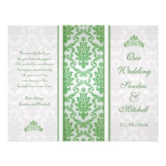 Grüner Damast auf silberne Hochzeits-Programm Personalisierte Flyer