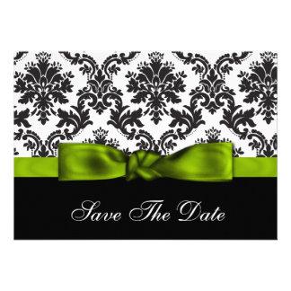 grüner Damast Save the Date Ankündigungskarte