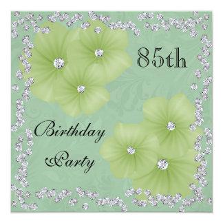 Grüner Damast u. Blumen-85. Geburtstag Quadratische 13,3 Cm Einladungskarte