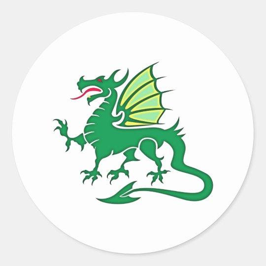 grüner Drache green dragon Runder Aufkleber