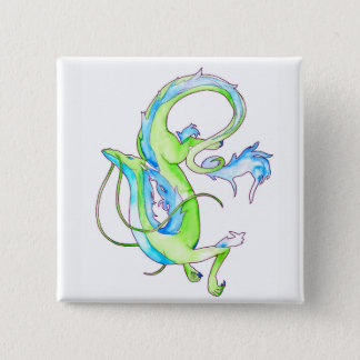 Grüner Drache Quadratischer Button 5,1 Cm