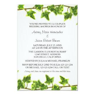 Grüner Efeu - der Polterabend-Einladung des Paares Karte