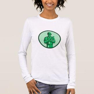 Grüner Erbauer, der Hammer-Kreis Retro hält Langarm T-Shirt