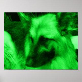 Grüner Feiertags-Schäferhund Poster