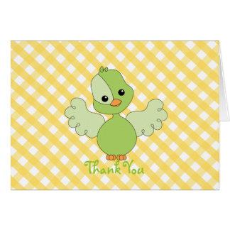 Grüner Flattern-Vogel danken Ihnen zu merken Karte