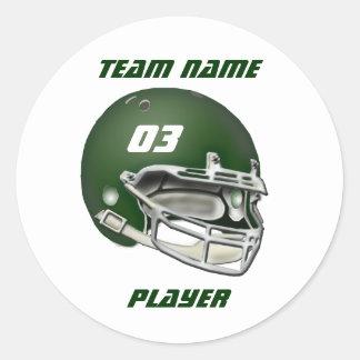 Grüner Football-Helm-Aufkleber Runder Aufkleber