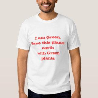 Grüner Frieden im Rot Tshirt