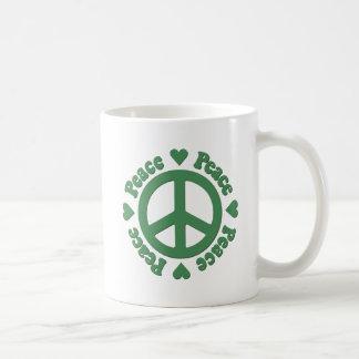 Grüner Frieden und Liebe Kaffeetasse