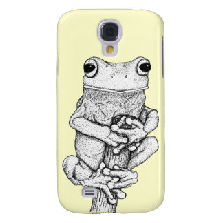 Grüner Frosch auf einer Fall-Kunst durch Skye Galaxy S4 Hülle