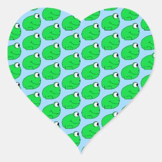 Grüner Frosch-Muster Herz-Aufkleber