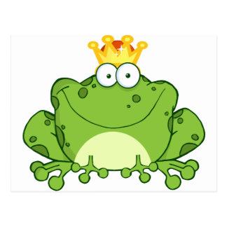 Grüner Frosch-Prinz Cartoon Character Postkarte