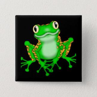 Grüner Frosch Quadratischer Button 5,1 Cm