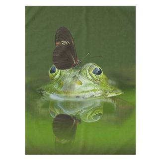 Grüner Frosch und Schmetterling Tischdecke