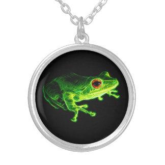 Grüner Frosch Versilberte Kette