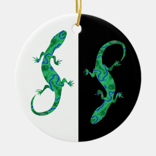 Grüner Gecko ArtDeco black and white design Keramik Ornament